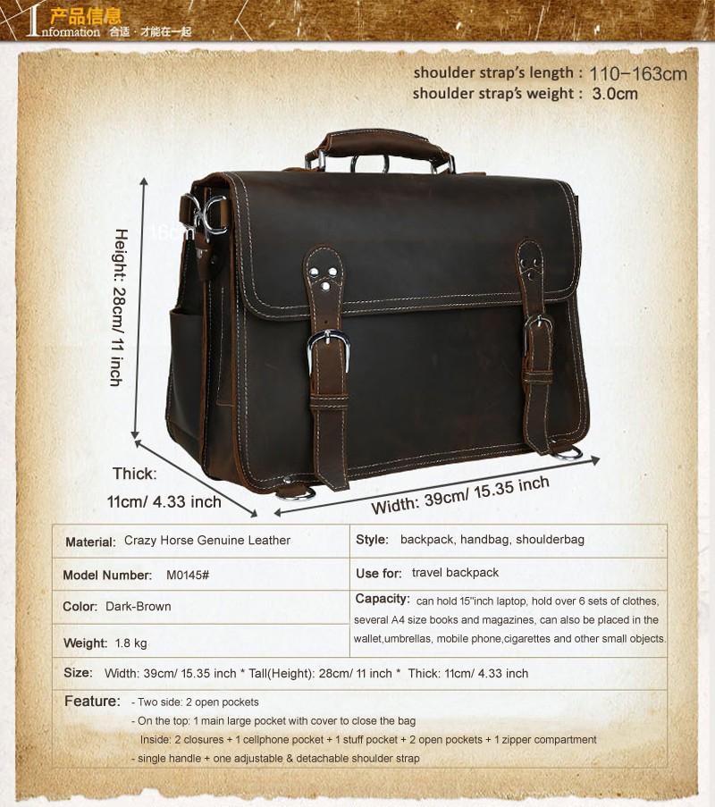 Business Briefcase in Genuine Leather with Inside Pockets Color Black