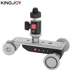 KINGJOY oficjalna PPL-06S Mini zmotoryzowana jazda kamerowa samochód Dolly Timelapse panoramiczna głowica kulowa na aparat telefoniczny Rotator poklatkowy