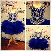 Королевский синий Нарядные платья для маленьких девочек Пользовательские Потрясающие Кристаллы бисером для девочек в цветочек платья для