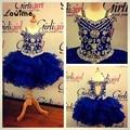 Royal Blue Pageant <font><b>Dresses</b></font> For Little <font><b>Girls</b></font> Custom Stunning Crystals Beaded <font><b>Flower</b></font> <font><b>Girl</b></font> <font><b>Dresses</b></font> For Wedding Vestido De Daminha