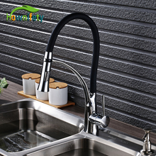 Chorme Polish Kitchen Faucet Single Lever Deck Mounted Tap Pull Out Spout Tap 2 ways outlet Water Mixer