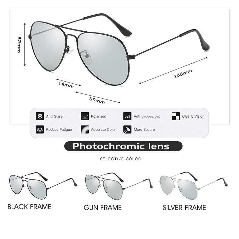 98dcc249a2f6b ... 2018 Photochromic Chameleon Aviation Sunglasses Men Driving Polarized  Sun Glasses Women Driver Safety Day Night Vision ...