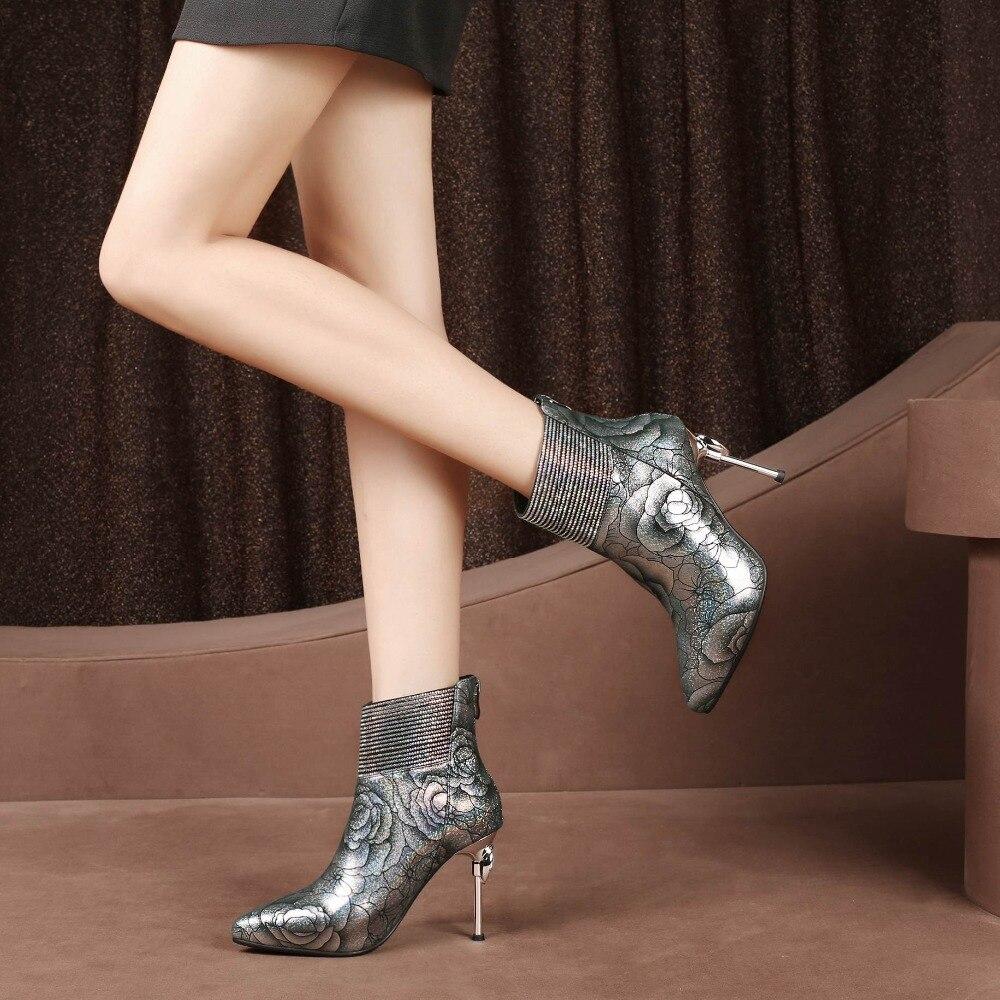 2018 superstar en cuir véritable zip doux super haute impression bling bureau dame discothèque femmes bottines piste hiver chaussures L25-in Bottines from Chaussures    2