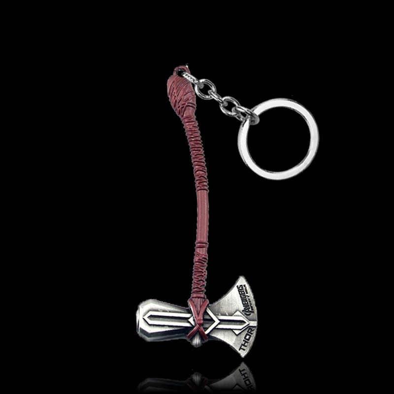 Marvel Jewelry The Avengers 4 Loki Scepter Keychain Iron Man Thor's Hammer Mjolnir Stormbreaker Axe Key Chain for Men Gifts