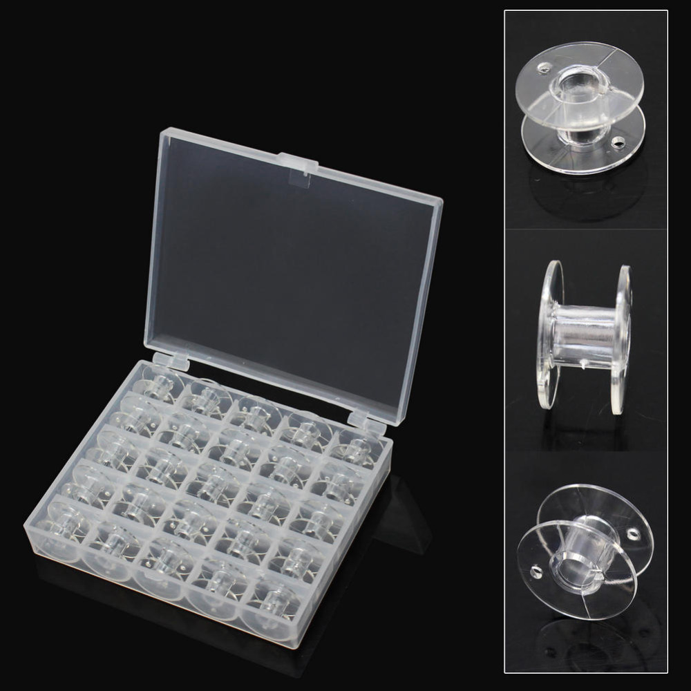 25Pcs Set Transparent Sewing Box Bobbin Sewing Kit Sewing Machine Spools With Clear Plastic Case Storage Box in Sewing Tools Accessory from Home Garden