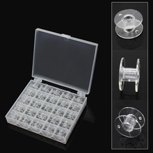 25Pcs/Set Transparent Bobbins Sewing Machine Spools Clear Plastic Case Storage Box for