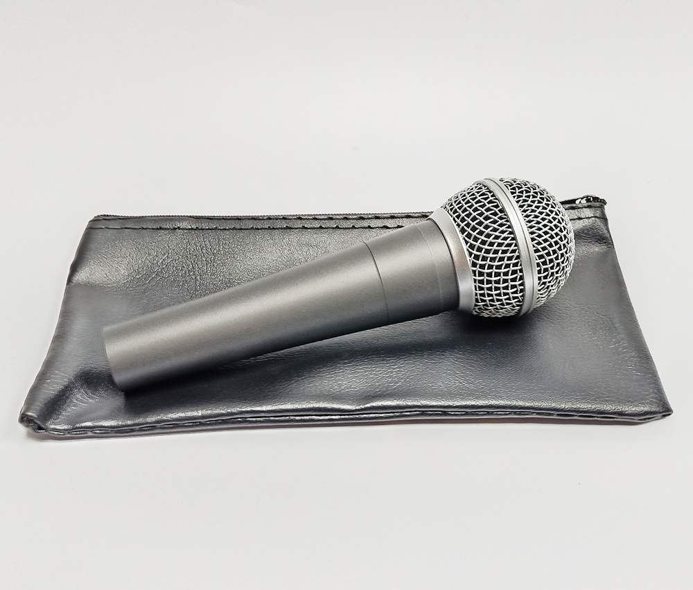PU Leather Zipper Wired Handheld Microphone Mic Bag Case For Easy Carry And Protection