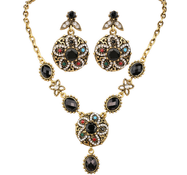 Indiano Do Vintage de Strass Luxo Colorfull Declaração Flor de Cristal Colar Brinco Conjunto de Jóias de Moda Anel De Formatura