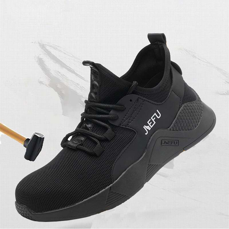 Men 2019 Steel Nose Safety Work Shoes grid Lightweight Breathable Reflective Casual Sneaker Prevent piercing Protective