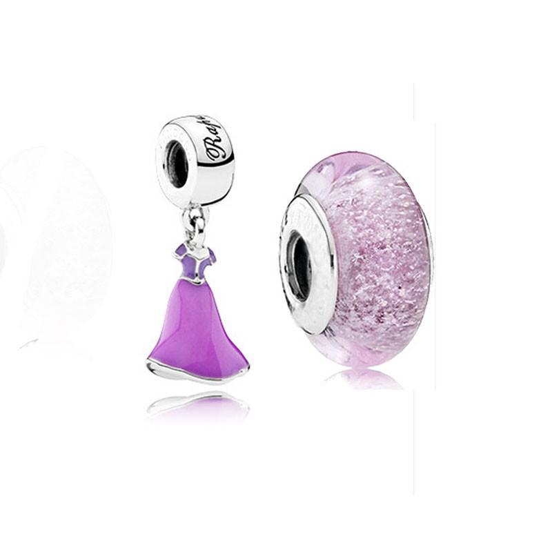 Fits Pandora Charms Bracelet Disny Rapunzel\'s Dress Lilac & Magenta Enamel Beads For Jewelry Making Murano Glass Beads Jewelry