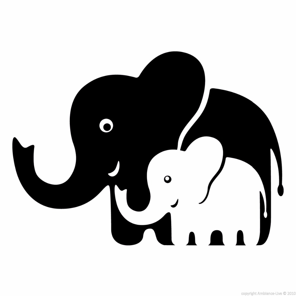 Mom and Baby Elephants Vinyl Wll Decal Wall Stickers Art Wallpaper ...