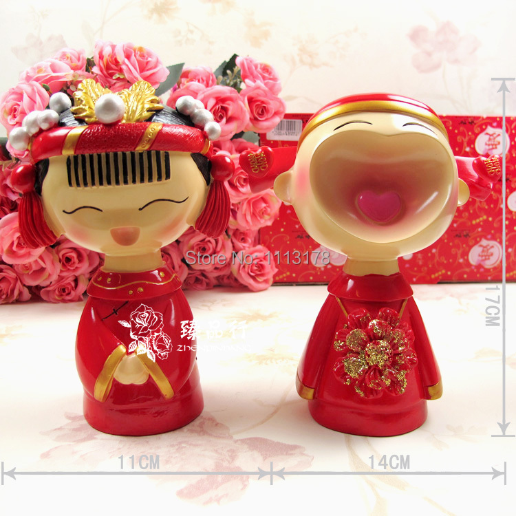 Happy Chinese Wedding Cake Toppers Table Decorations Bride And
