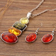 Imitation Ambers Jewelry Set Necklace Earring Set For Women Clear Crystal Elegant Party Gift Fashion Jewelry Sets