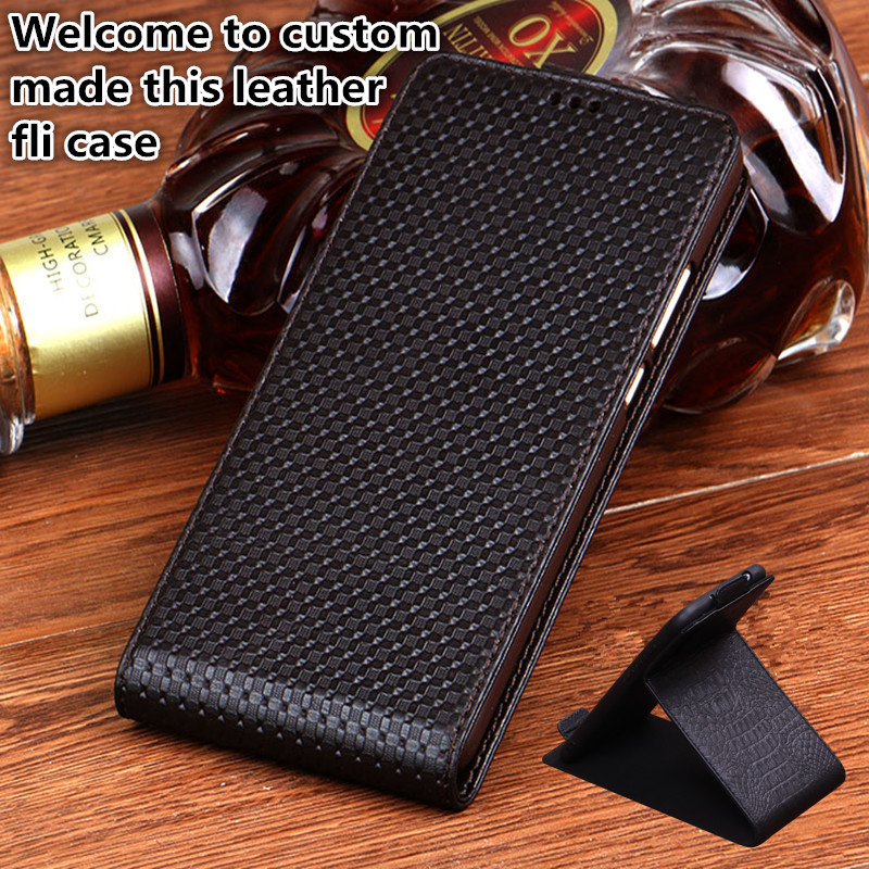 YM12 Genuine Leather Flip Case For LG Stylo 4 Vertical