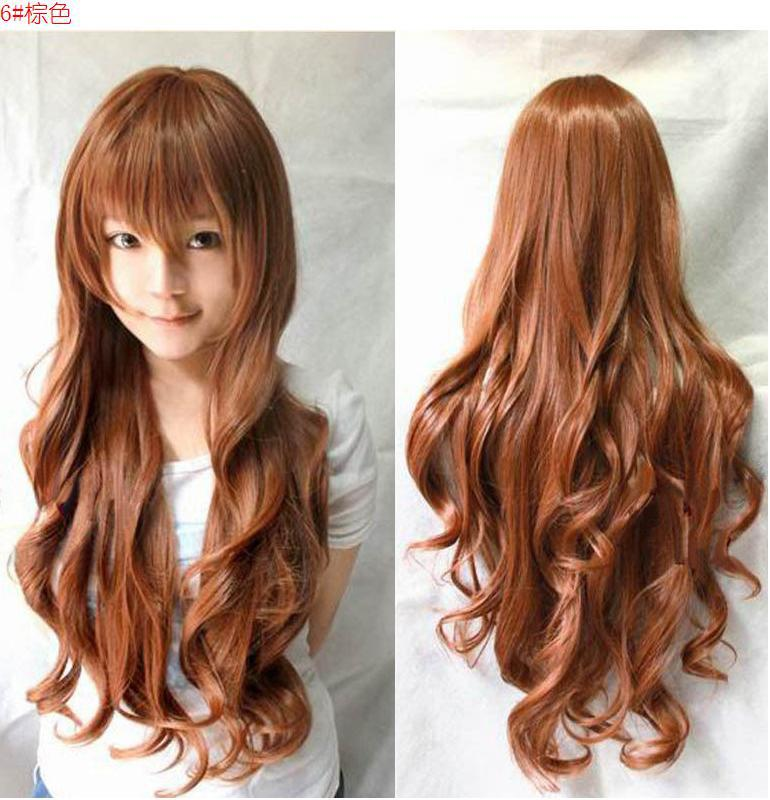 Hot Anime Cosplay Wig Long Curly False Hair Color Wig Matte High