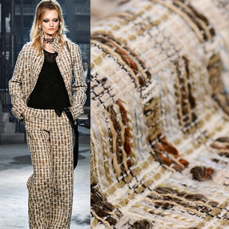 Limited hot sale 2016 new Cappuccino tweed fabrics worsted wool fabric for coat tissu au meter