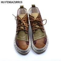 HUIFENGAZURRCS The Original Hand Stitching Color Round Tie Soft Bottom Martin Boots Female Leather Boots The