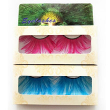 acc0a729b5c Aqua Blue/Rose Red Feather False Eyelashes Exaggerated Colorful Lashes  Extension Makeup Eye Lashes for
