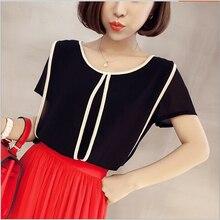 European and American fashion stitching design hedging round neck chiffon shirt blouse summer shirts women clothing