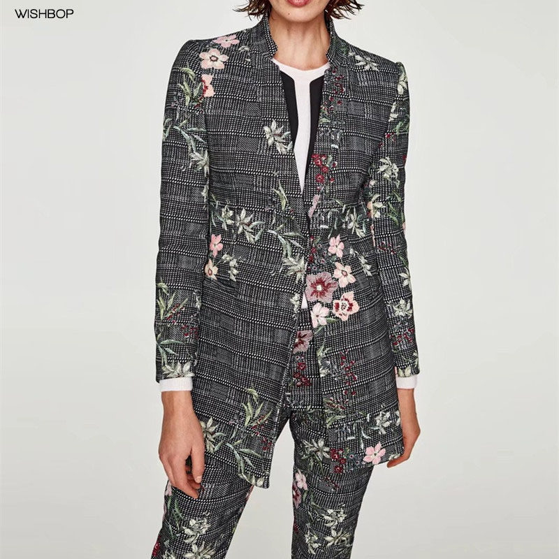 WISHBOP NEW 2018 Spring Woman Checked Floral PRINT JACQUARD FROCK COAT Mandarin Collar Front Single Button Long sleeved Jacket