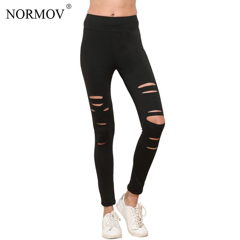 NORMOV S-XL Women Push Up Ripped Leggings Workout Black Leggins Workout Hollow Out Breathable Slim Leggings Women