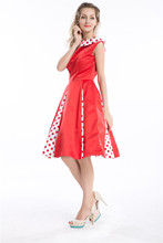 Free shipping 2014 best Tropical Hawaiian Print Chifon Dress Rockabilly 1950's Size