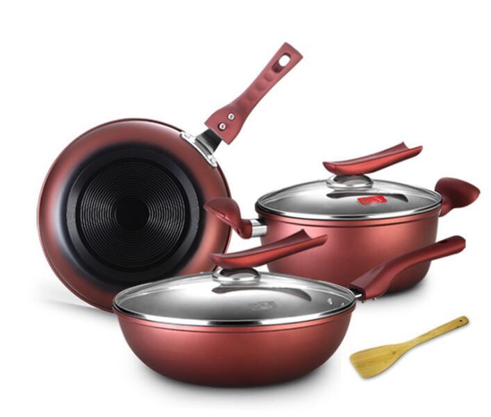 Haute qualité batterie de cuisine set vin rouge antiadhésif cuisine marmite ensembles poêle wok soupe pot 30cm