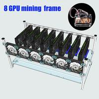 Stackable Computer Frame Case With 6 Cooling Fan Switch For 8 Graphics Card GPU Mining Case