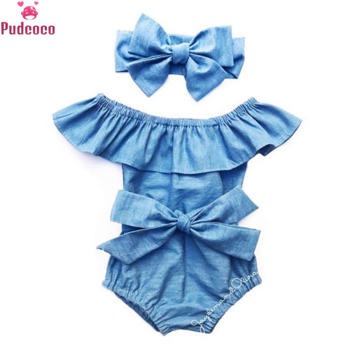 Newborn Baby Girl Clothes Set Toddle Infant Front Bowknot Romper Ruffle Sleeveless Jumpsuit Cotton Summer Outfits Clothes 0-24M