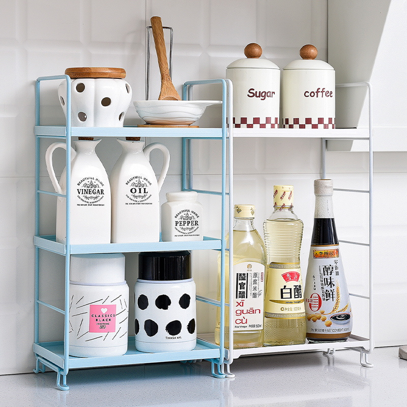 Image 3 - 3 Tiers Storage Shelf Bathroom Organizer Kitchen Rack Stand Holder Iron Bookshelf Desktop Plastic Storage Rack Corner Shelves-in Storage Holders & Racks from Home & Garden