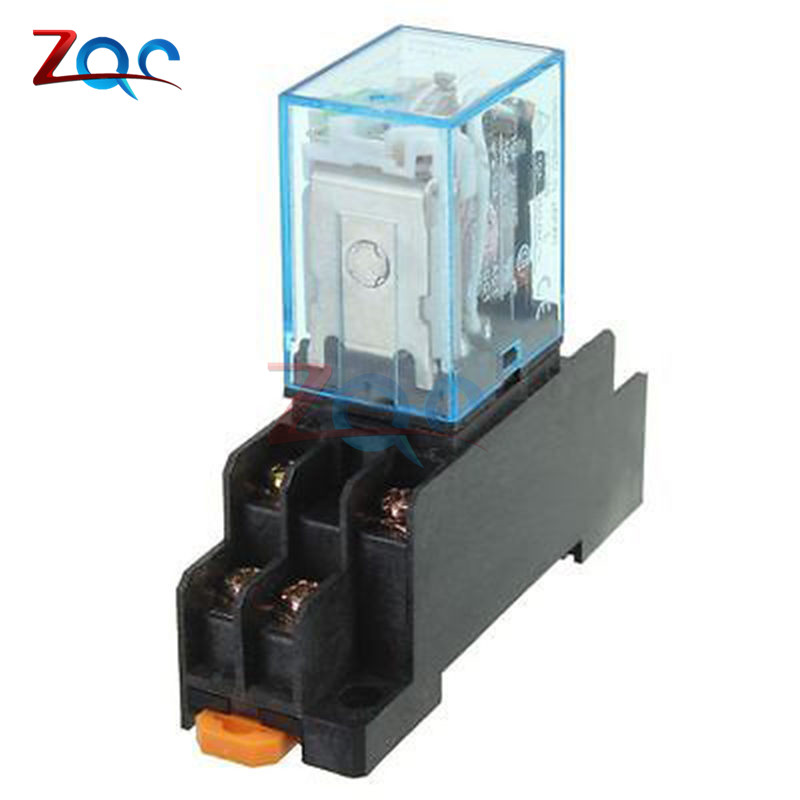 Coil Power Relay 12V DC LY2NJ Miniature Relay DPDT 8 Pins 10A 240VAC LY2 LY2 JQX-13F With PTF08A Socket Base 10a dpdt relay 12vdc 24vdc 110vac 220vac ly2n general purpose relay ly2nj with power relay base socket 8 pins ly2 relay switch