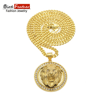 Bird Feather Stainless Steel Necklace For Men Women Lion Round Steel Pendant Chain Necklaces Pendants Hip