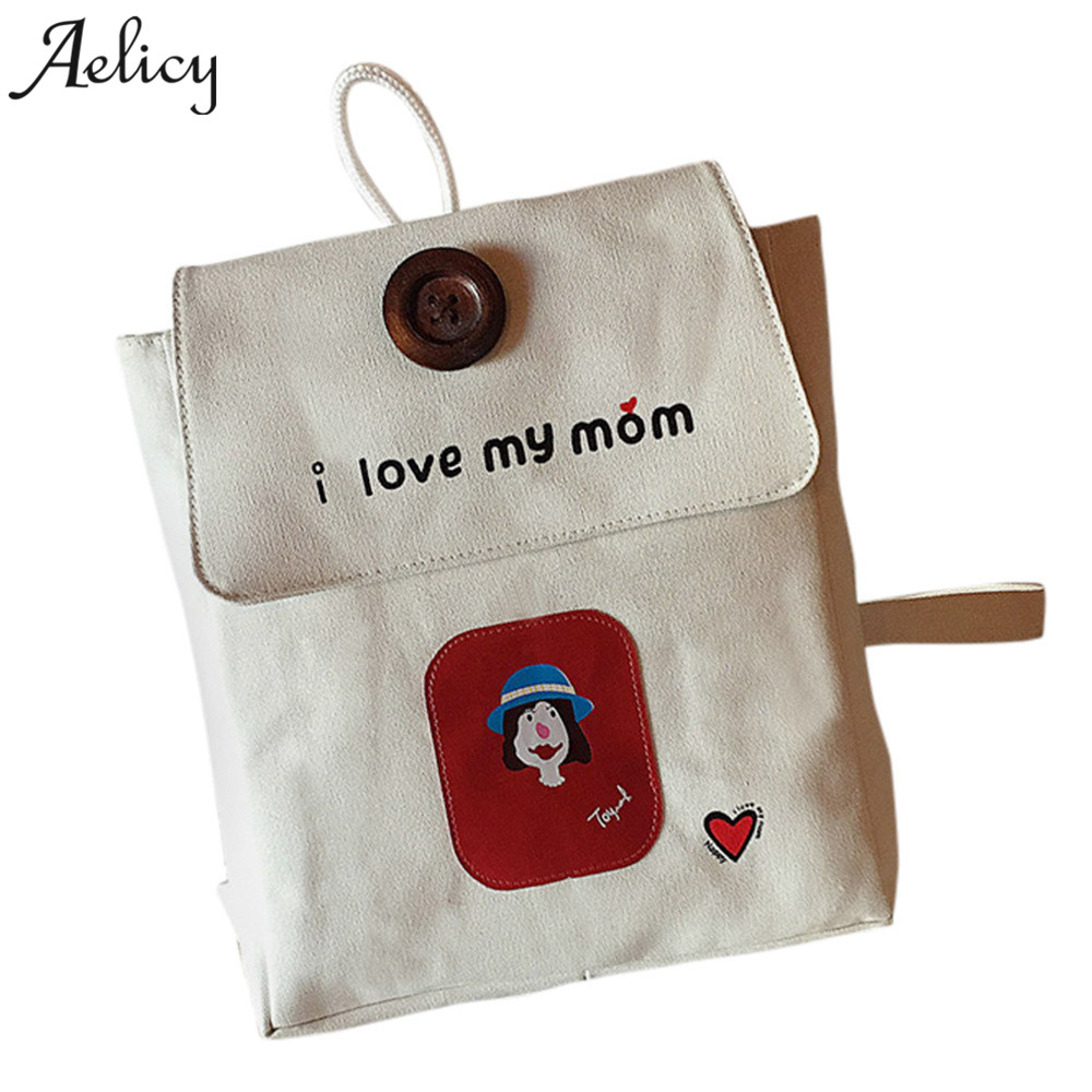 Aelicy Print I Love Mom Canvas Women Backpack Casual College Bookbag Female Retro Stylish Daily Travel Laptop Backpacks Bag