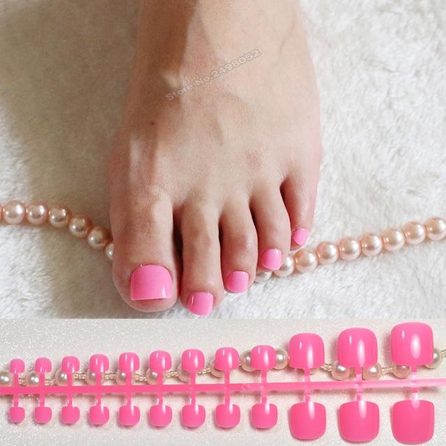 Plastic False Nail Tips For Toe Foot Nails Decorations Lovely Pink Soft Full Wrap Fake Toenail