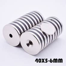 2Pcs Neodymium Magnet 40x5 mm With 6mm Hole N52 Round super powerful neodymium magnets free shipping For Craft Gallium Metal