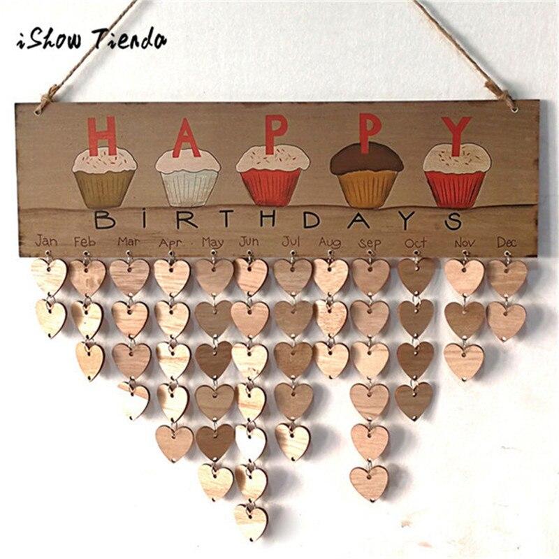 Wood Birthday Reminder Board Birch Ply Plaque Sign Family &Friends DIY Calendar christmas tree ...