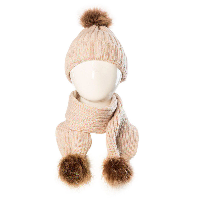 Baby Kids Children Scarf Hat Sets Knitted Wool Patchwork Fur Pom Bobble Cap Beanie Boys Girls Winter Warm Knit Scarf Scarves