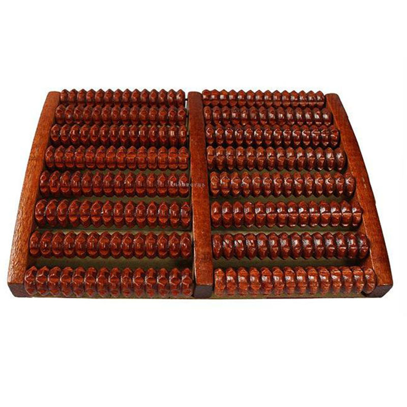 Eight Rows Solid Wooden Roller Foot Massager Pedicure Machine Foot Brush Wooden Feet Meridians Foot Massager