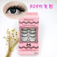 10pairs False Eyelashes Individual Tapered Eyelash Lashes 100 Human Hair Natural Thick Eyelashes Extension Cilios Posticos