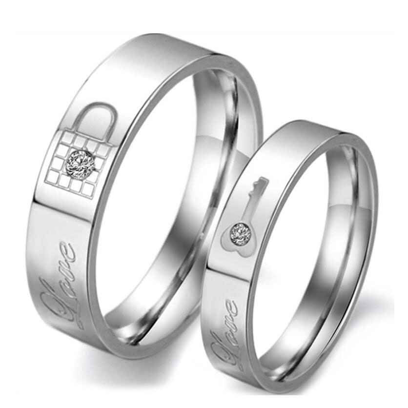Stainless Steel Couple Rings Korean Jewelry lock/ key his and hers promise ring for lovers
