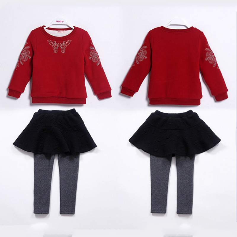 High Quality 2017 Girls Autumn Winter Casual Clothing Sets Embroidered Long Sleeved T-shirt+ Pants 2Pcs Set Warm Clothes CC409 mother and daugther summer girls set embroidered blouse and butterfly embroidered shorts 2 pcs suit brand clothing high quality