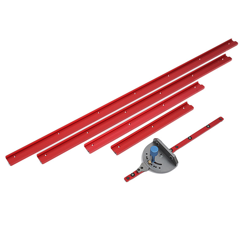 400-1200mm Red Aluminum Alloy 45 Type T-Track Woodworking T-slot Miter Track/Table Saw Router Miter Gauge For Woodworker Sawing