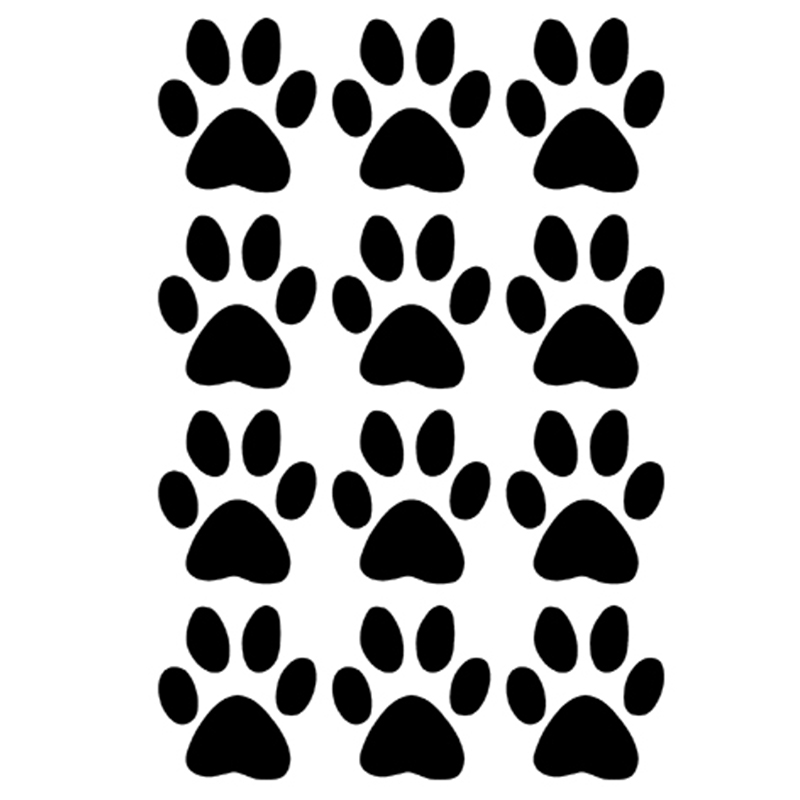 11.6*17.5cm Hot Sale Set of 12 Dog Paw Prints Decals Vinyl Car Stickers For Truck SUV Car Window Bumper Laptop Locker Home Glass