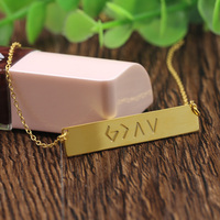 Factory! Horizontal Aramaic Words Charm Necklace Custom Name Golden Plated Pendant Trenday Jewelry Men Women wholesale