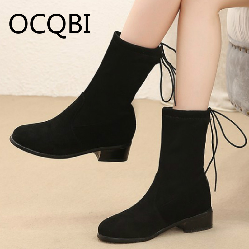 Womens Round Toe Flock Mid calf Slip on Chelsea Flat Boots Shoes