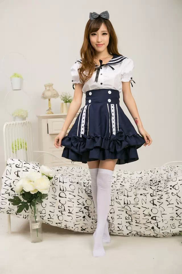 Lovely Lolita Dress Sweet Girl Maid Cosplay Custome Japanese School Uniform Sailor Costume Halloween Costumes for Women