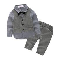 Набор 3 предмета осень 2016 детские наборы одежды для досуга детский костюм для мальчиков жилет джентльмена одежда для свадьбы строгая одежда
