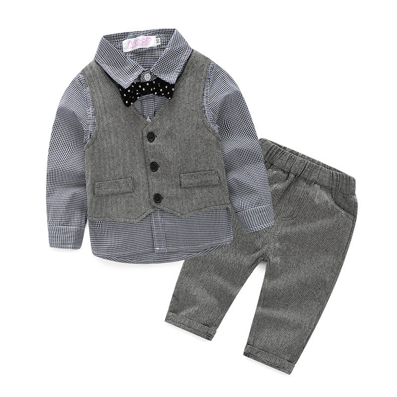 3pieces set autumn 2016 children's leisure clothing sets kids baby boy suit vest gentleman clothes for  weddings formal clothing wedding suits for baby boys 3pcs set autumn 2017 new children s leisure clothing sets kids baby boy suit vest gentleman clothes