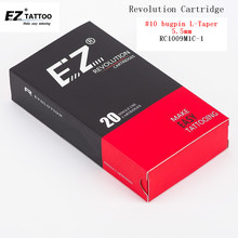 RC1009M1C-1 EZ Revolution Cartridge Needles Curved Magnum #10 Bugpin Tattoo 5.5 mm Long Taper for Pen