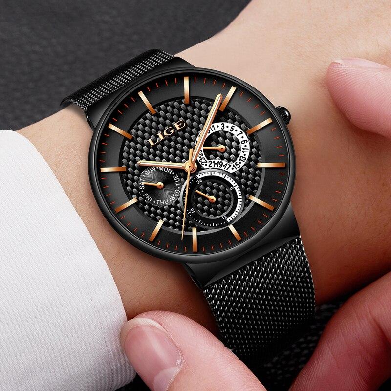 Relogio Masculino LIGE Fashion Mens Watches Top Brand Luxury Quartz Watch Men Casual Slim Mesh Steel Date Waterproof Sport Watch 4